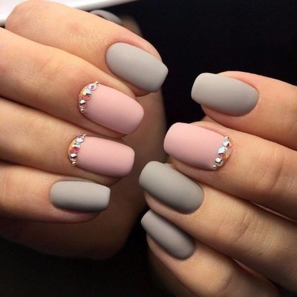 Маникюр серый с розовым фото варианты идеи