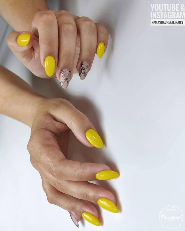 Желтый маникюр 2020 фото модные идеи новинки