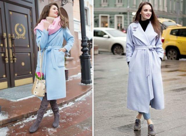 С чем носить голубое пальто 2020 фото модные тенденции