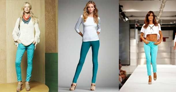 c чем носить бирюзовые брюки фото 2020 модные образы