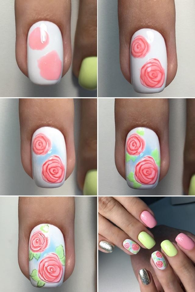 таких дизайн ногтей розы фото пошагово лицевой